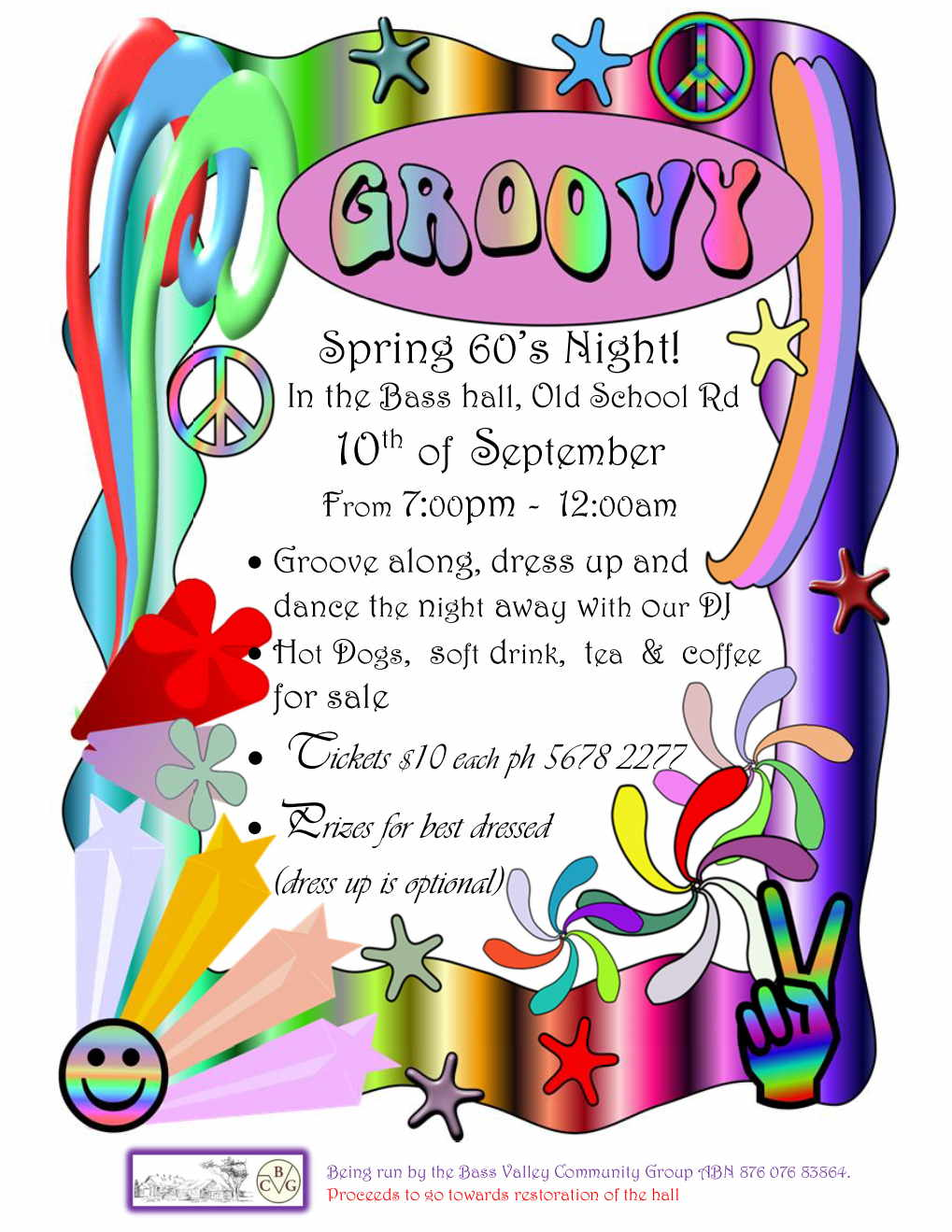 Spring 60s Dance Night Event HotDogs Drinks Tea Coffee