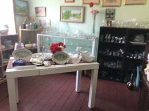 Bass Valley op shop - Corner Table Display with Glassware and China 640x480