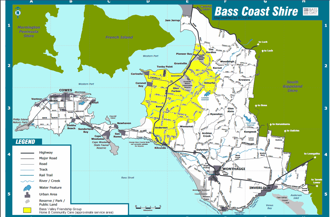 Bass Valley Friendship Group and Home and Community Care approximate service-area-map