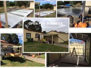 Bass Valley Hadden House op shop - new storage shed construction - two